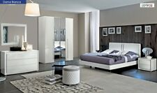 ESF Dama Bianca Contemporary King Bedroom Set in White High Gloss, 5-Piece
