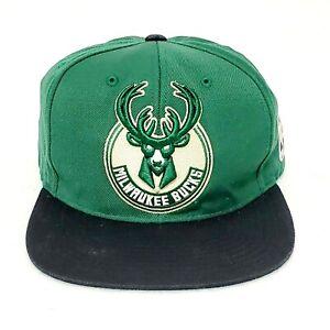 Mitchell and Ness NBA Milwaukee Bucks Snapback Hat Cap Green Black Logo