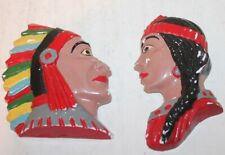 """2 Vtg Indian Heads - Chief & Squaw - Chalkware Wall Hanging - 5"""" Tall"""
