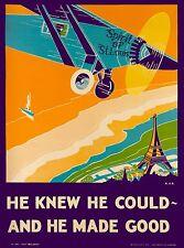Spirit of St. Louis New York United States Vintage Travel Advertisement Poster