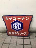 "Porcelain Enamel Sign ""Kikkonan Soy Sauce, Miso, Sauce"" Showa Retro Japan"