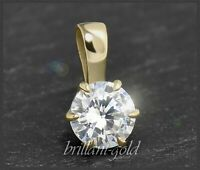 Diamant 585 Gold Brillant Anhänger,0,63ct Solitär in River E, Diamantanhänger