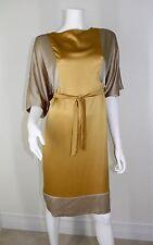 Max Mara Maxmara Gold Taupe Silk Kimono Shift Belted Dress 8 M MD