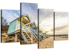 Canvas Prints of Beach Huts for your Bathroom - 4 Panel - Landscape - Sea