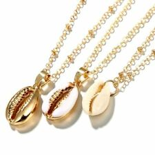 Fashion Shell Pendant 3-Layer Necklace Jewelry Beach Thin Chain Choker Golden