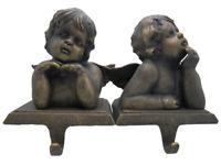 2 Cupid Stocking Holders Grandeur Noel Bronze Christmas Cherub Angel Set in Box