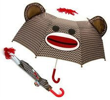 Sock Monkey Face Umbrella 28 23 Wide Ears Schylling Children Kid w/ Red Handle