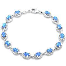 Oval Blue Fire Opal & Cz .925 Sterling Silver Bracelet