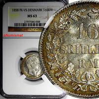 Denmark Frederik VII Silver 1858 FK-VS 16 Skilling Rigsmont NGC MS63  KM# 765