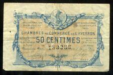 chambre de commerce  de L'AVEYRON 50 centimes  1922