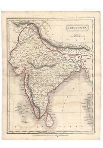"Antique Map of INDIA ""HINDOOSTAN"" by Samuel Butler 1825"