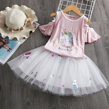 Unicorn Kids Baby Girl Outfits Clothes T-shirt Tops Skirt Dress Outfits Sets