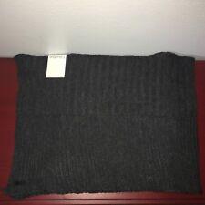 CALVIN KLEIN Charcoal Grey Horizontal Rib Muffler Wool Blend Scarf 77307 NWT $60