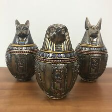 SALE - Egyptian Gods Bastet, Horus, & Anubis Bronze Finish Canopic Jars