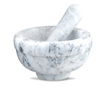 Mortar and Pestle Set Marble Granite Gray Large Professional Kitchen Tools