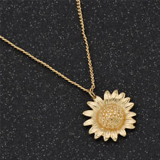 Women Sunflower Necklace Gold Plating Pendant Chain Jewelry Charm Fashion