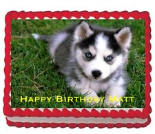 Husky Wolf Puppy Cute  party Edible Cake Image Topper 1/4 frosting icing sheet