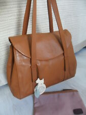 Radley Sherwood Tan Leather Flap Tote Shoulder Work Bag Dog Charm & Make up Case