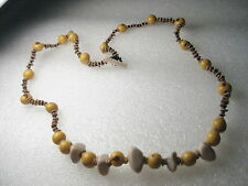 """Vintage  Stone, Glass Beaded Natural Still Necklace - 20"""" - rustic toggle"""