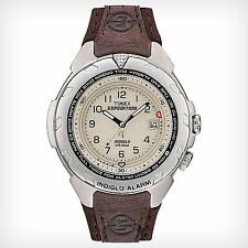 Timex Expedition Men's Easy Set Alarm Brown Leather Indiglo Watch T47902 NEW