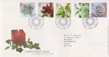 Tallents PCM GB Royal Mail FDC couverture de Noël 2002 plantes Stamp Set NO INSERT