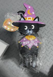 Halloween Black Cat Solar Illuminated Garden Stake Yard Metal NEW