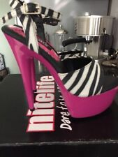 Nitelife Pink Zebra Pole Dancing Stripper Platform Heels New Unworn Size 4