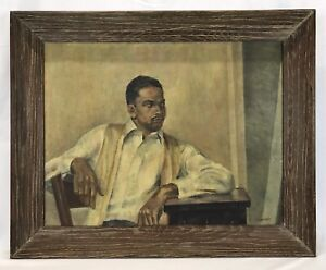 Vintage Mid Century Oil Painting African American Man Original Frame Signed
