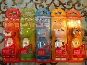 BRUSH BUDDIES POPPIN' TOOTHBRUSH SOFT BPA FREE CHARACTER HEADS LION FROG KIDS