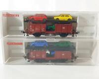 2x FLEISCHMANN 5225 HO GAUGE - GERMAN DB LIVERY VOLKSWAGEN CAR TRANSPORTERS