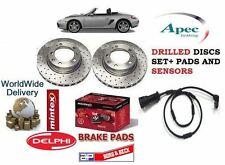 FOR PORSCHE BOXSTER 2.7 1999-2009 FRONT DRILLED BRAKE DISCS + PADS KIT + SENSOR