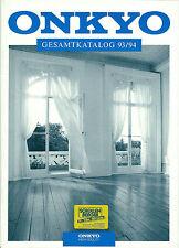 Onkyo catálogo folleto 93/94 tx9021 dx6890 p3890 m5890 a8870 a8051 t9990 sc585