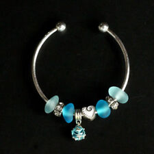 blue handmade sea glass beach glass beads bracelet bangle