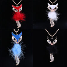 Fashion Fox Pendant Rhinestone Inlaid Fur Necklace Long Sweater Chain Hot Gift