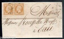 France 1855 entire bearing a pair of 10c bistre imperfs from Montfort to Pau,