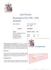 JACK WHEELER BIRMINGHAM CITY 1938-1948 RARE ORIGINAL HAND SIGNED CUTTING/CARD