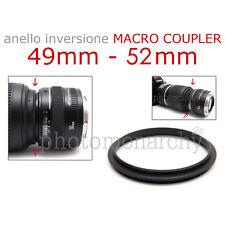 Anello MACRO COUPLER adattatore INVERSIONE 49mm - 52mm 49 52 Canon Nikon Sony