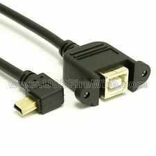 USB 2.0 Left Angle Mini-B to A fUSB 2.0 Left emale Extension Cable - Panel Mount