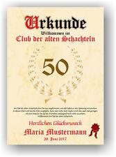 Urkunde - Club der alten Schachteln 18 20 30 40 50 60 Geburtstag Deko Geschenk