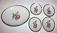 Fürstenberg Rosa Rossa Ciotola caramelle ovale con 4 piccolo Piastre