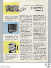 1960 PAPER AD 3 PG Decorator Clocks Table Wall Golden Hour Brass Carriage