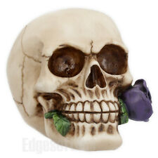 PURPLE ROSE FROM THE DEAD SKULL FIGURINE FANTASY ORNAMENT GOTHIC HORROR 15CM