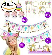 Unicorn Party Supplies Girls Birthday Kit Decorations Party Favors Banner Tiara