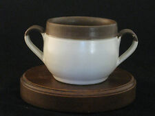 Denby Langley Pottery Oberon White Body Brown Band Soup Cup Made in England