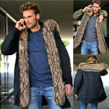 NEW MENS PARKA PARKER PADDED LINED WINTER JACKET FAUX FUR HOODED COAT SIZE S-3XL