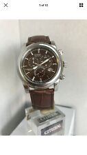 CITIZEN MENS ECO-DRIVE CHRONOGRAPH STAINLESS STEEL & B L Strap WATCH AT0550-11X