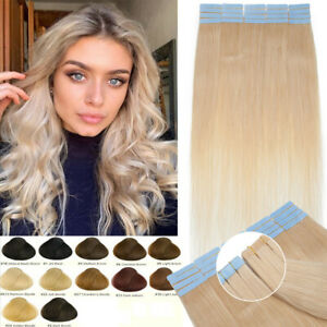 20pcs Thick Tape In Human Hair Extensions Invisible Skin Weft Hairpiece Platinum