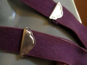 Vtg 70s ROYAL PURPLE Logger Clip Suspenders Braces Elastic  ONE SIZE FITS ALL
