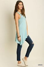 Solid UMGEE Green Asymmetrical Sleeveless Boho Long Tunic Top Knit Tank Dress M