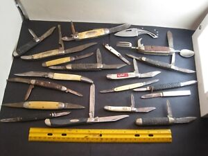 vintage junk drawer lot,20 knives,Buck,Boker,Imperial,advertising,camping,trick
